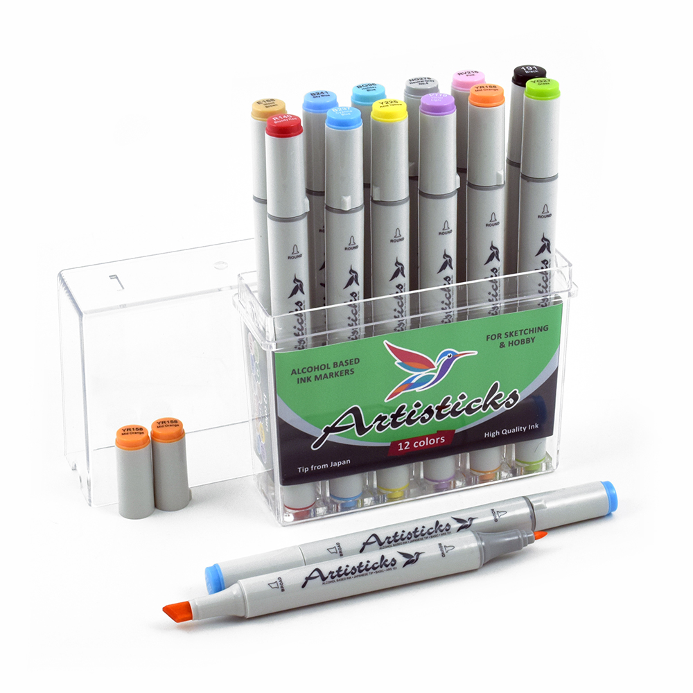 Профессиональные двусторонние художественные маркеры Artisticks® ARS 101-12 BOX  на спиртовой основе