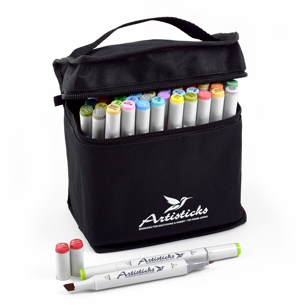 Профессиональные двусторонние спиртовые маркеры Artisticks® ARS 101-48 BAG