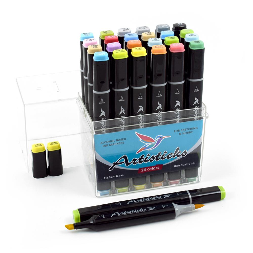 Профессиональные двусторонние художественные маркеры Artisticks® ARS 102-24 BOX спиртовые