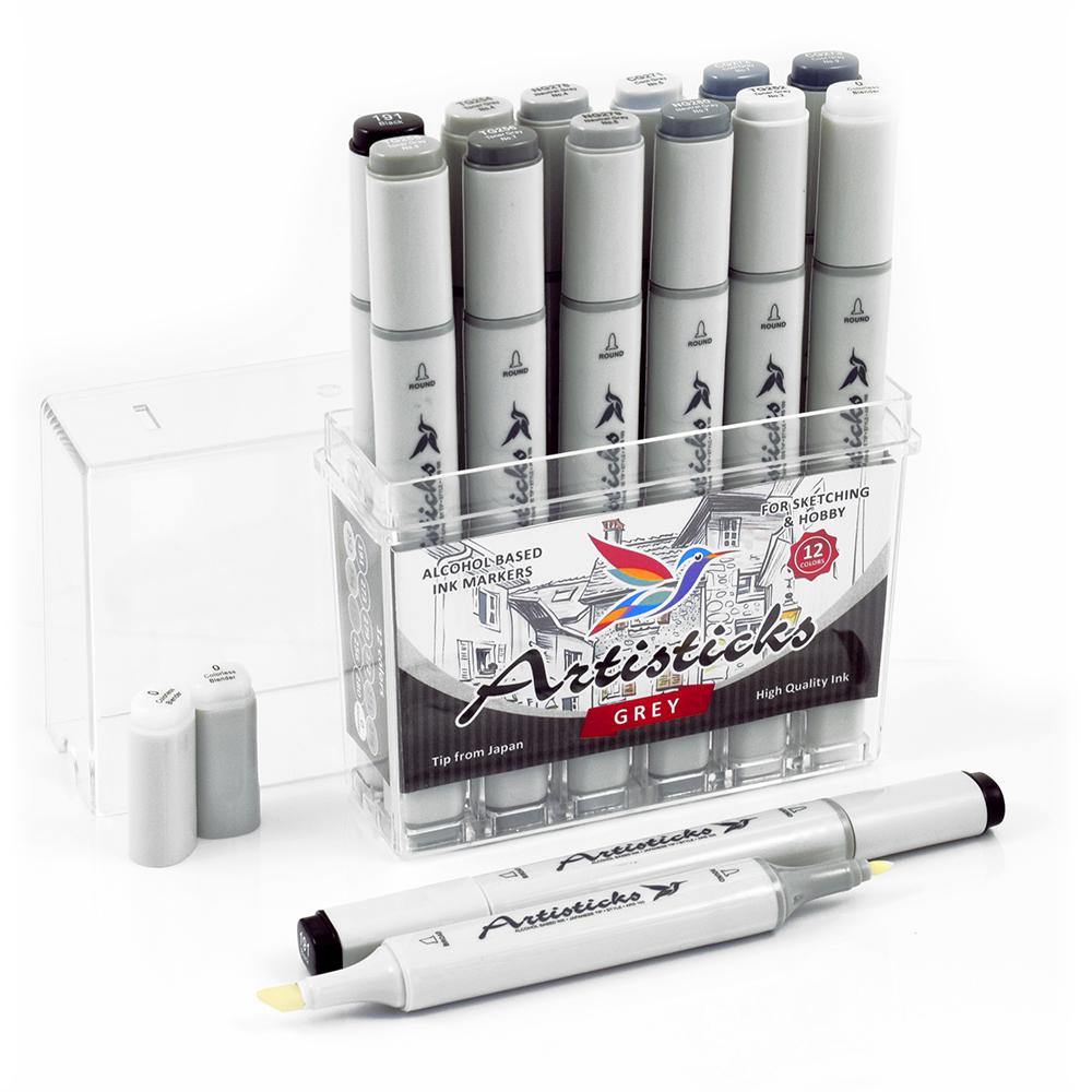 Профессиональные двусторонние художественные маркеры Artisticks®  Палитра 12 цветов Тематический набор GREY / «Оттенки серого»  на спиртовой основе