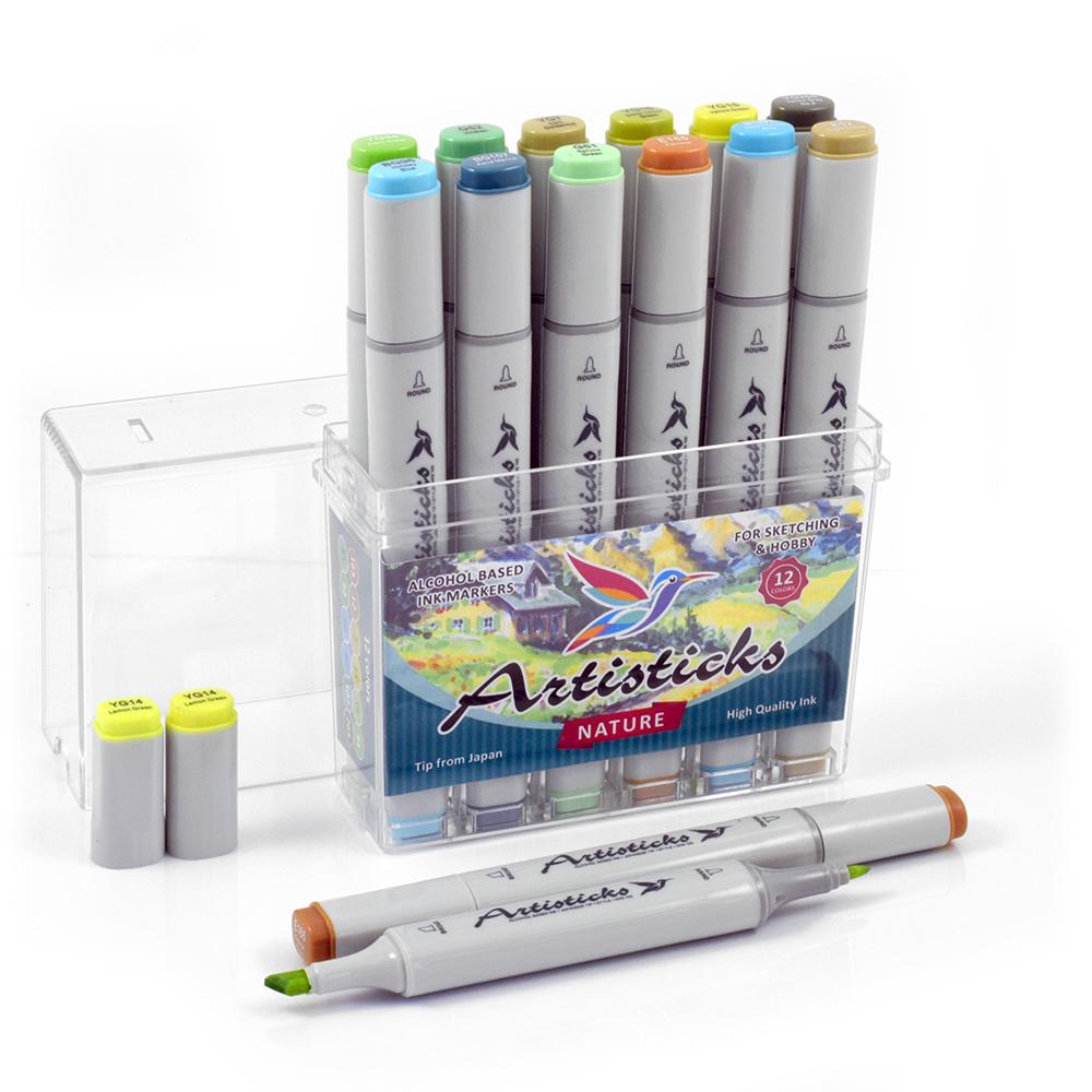 Профессиональные двусторонние спиртовые маркеры Artisticks®  Палитра 12 цветов Тематический набор NATURE / «Цвета природы»
