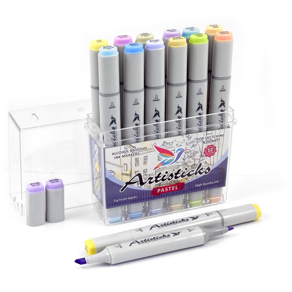 Профессиональные двусторонние спиртовые маркеры Artisticks®  Палитра 12 цветов Тематический набор PASTEL / «Пастельные цвета»