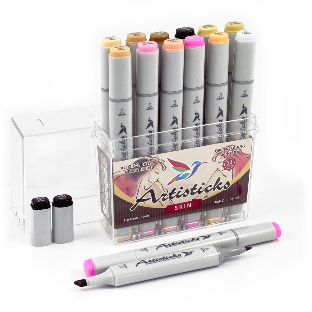 Профессиональные двусторонние спиртовые маркеры Artisticks®  Палитра 12 цветов Тематический набор SKIN / «Телесные цвета»