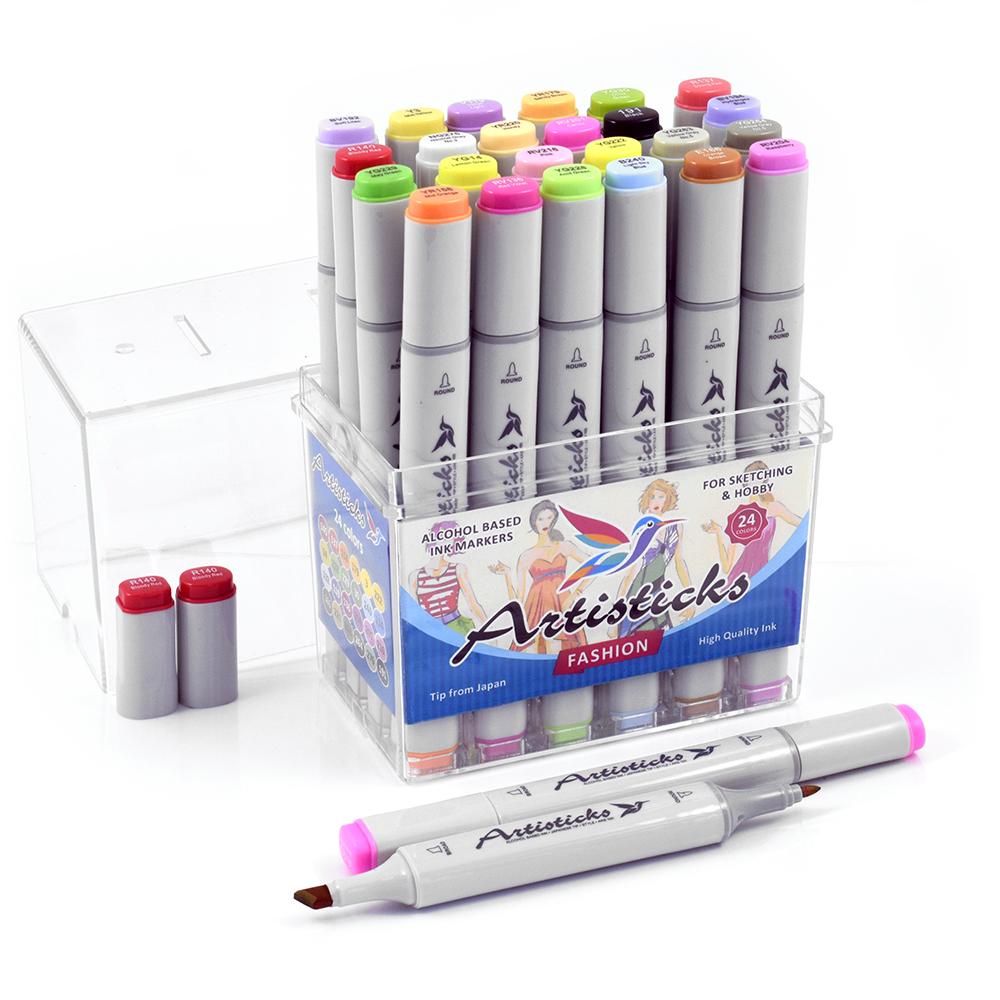 Профессиональные двусторонние спиртовые маркеры Artisticks®  Палитра 24 цвета Тематический набор FASHION / «Мода»