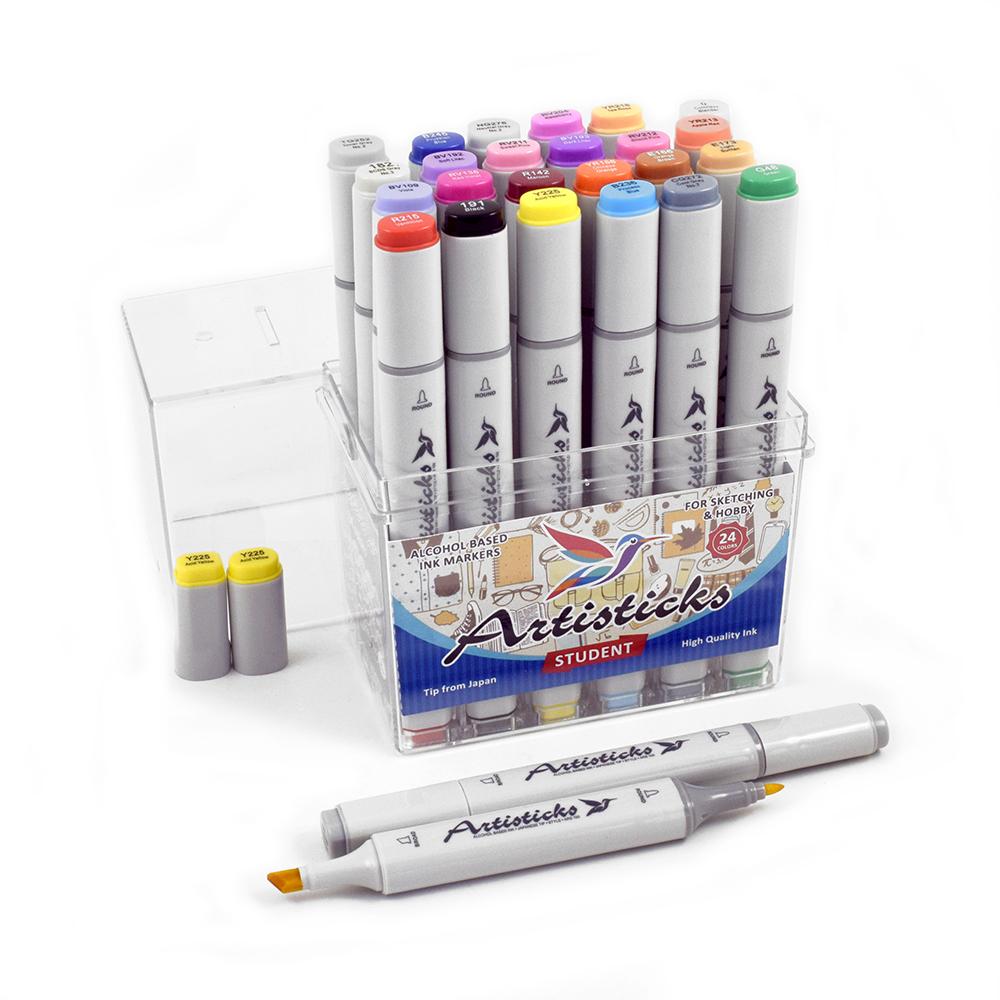 Профессиональные двусторонние спиртовые маркеры Artisticks®  Палитра 24 цвета Тематический набор STUDENT / «Студент»