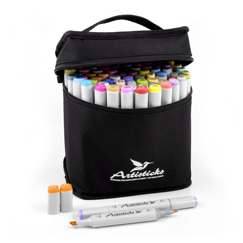 Профессиональные двусторонние спиртовые маркеры Artisticks® ARS 100-84 BAG