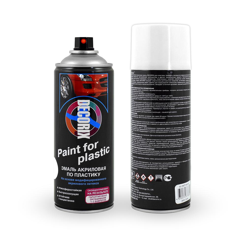 Аэрозольная эмаль по пластику для бамперов и молдингов DECORIX 520 мл матовая