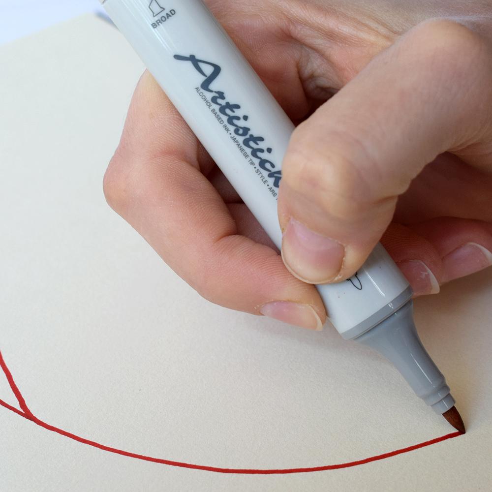 Профессиональные двусторонние спиртовые маркеры Artisticks®  Палитра 12 цветов Тематический набор BRIGTH / «Яркие цвета»