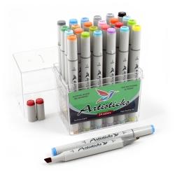Профессиональные двусторонние художественные маркеры Artisticks® ARS 101-24 BOX  на спиртовой основе