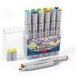Профессиональные двусторонние художественные маркеры Artisticks®  Палитра 12 цветов Тематический набор NATURE / «Цвета природы»  на спиртовой основе
