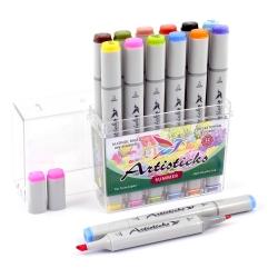 Профессиональные двусторонние художественные маркеры Artisticks®  Палитра 12 цветов Тематический набор SUMMER / «Летние цвета»  на спиртовой основе