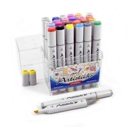 Профессиональные двусторонние художественные маркеры Artisticks®  Палитра 24 цвета Тематический набор STUDENT / «Студент»  на спиртовой основе