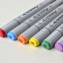 Профессиональные двусторонние спиртовые маркеры Artisticks®  Палитра 12 цветов Тематический набор GREY / «Оттенки серого»